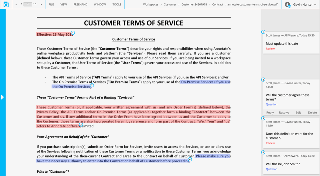 Customer contract shared internally and externally